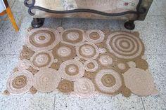 Tapete de croche barbante geometrico Bege 0.85 x 0.50cm -2011103