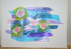 Monet: Water Lilies Art Project - Modge Podge Sparkle + tissue paper