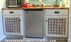 fab diy furniture stenciling ideas with royal design studio stencils, painted furniture, A woven basket stencil dresses up some plain white cabinet doors