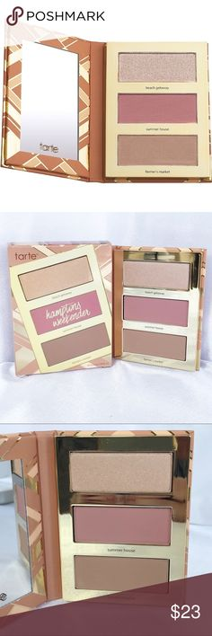 🆕Tarte Hamptons☀️Weekender Palette🆕 New in box Tarte Hamptons Weekender Palette. Accessorizes your summer tan with contour, blush & highlight shades. The matte blush & contour shades provide buildable, streak-free color on every complexion, and the champagne highlighter delivers a lit-from-within radiance. The skin-balancing, longwearing Amazonian clay formula will keep your glow looking gorgeous from summer Friday to Sunday funday. Shades: Beach Getaway (highlighter) Summer House (matte…