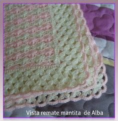 """*•♫♪*Mantita bebé """"Alba"""" a crochet/ganchillo*•♫♪* - manosalaobratv"""