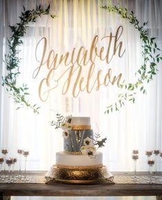 Calligraphy Names, Gorgeous Wedding Background, Eucalyptus Wreath, Elegant Weddi. Wedding Cake Backdrop, Ceremony Backdrop, Wedding Wreaths, Wedding Decorations, Elegant Wedding, Rustic Wedding, Bridal Shower Tea, Wedding Background, Wedding Planning