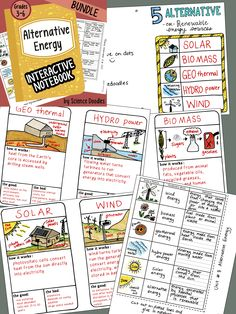 ALTERNATIVE ENERGY interactive notebook BUNDLE by science doodles! 55 pages