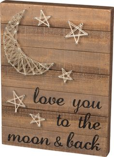 Love You To The Moon & Back - String Art Plank Board Box Sign - 16-in