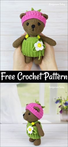 Free Crochet Bear Patterns – Amigurumi Patterns Free Crochet Bear Patterns,Amigurumi Raspberry Bear Free Crochet Pattern -I have rounded up a huge list of free crochet teddy bear patterns for you to get inspired by these cute and soft Crochet Teddy Bear Pattern, Plush Pattern, Crochet Bunny, Free Crochet, Crochet Hooks, Crochet Animals, Animal Knitting Patterns, Crochet Dolls Free Patterns, Stuffed Animal Patterns