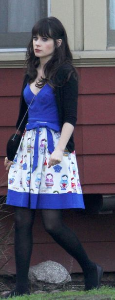 Who made Zooey Deschanel's blue print dress that she wore in West Hollywood on December 4, 2012? Dress – Eva Franco