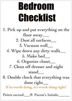 Kids bedroom tidy up checklist, I'd make mine a little bit different, but I love the idea of giving them a checklist, letting them go do the work and checking on it later.  Great way to earn some rewards points too :)