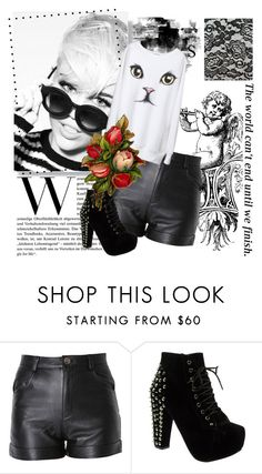 """black n white"" by riechan9 ❤ liked on Polyvore featuring AG Adriano Goldschmied, Cyrus, may, Truffle, short, cat, black n white and leather"