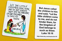 Scripture Doodle Card of Encouragement/Luke 18:16/Let the