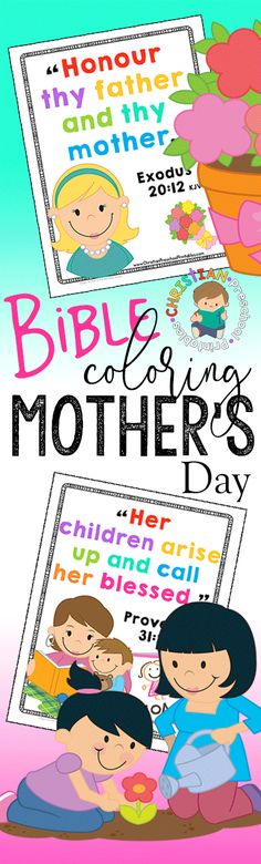 Mother's Day Bible Verse for Kids.  Simple Scripture Coloring Page for Mother's Day Sunday School Lesson. via @craftyclassroom