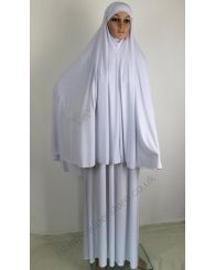 Women Ihram for Hajj and Umrah: A two piece Women Ihram set specially designed and made for Hajj and Umrah. Is made of smooth brilliant white material which has a slight stretch to it,