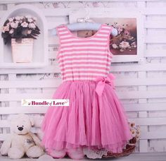 "Please ""like"" our Facebook's page for latest new arrivals & promotions: http://www.facebook.com/bundleoflovekidsboutique (""like"" & message us in Facebook for 10% discount code)  This listing is only for Pink Stripe Tutu Dress with Bow  Kindly check our ""Headband Collections"" if you are intere..."