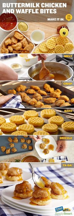 Buttermilk Chicken and Waffle Bites! Get the recipe and make them NOW. All day housewarming—brunch. Brunch Recipes, Appetizer Recipes, Breakfast Recipes, Brunch Food, Brunch Ideas, Party Recipes, Brunch Finger Foods, Brunch Bar, Chicken Breakfast