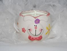 Customized Easter Ceramic Pink Rabbit Candle by AllThatTeases, $15.00