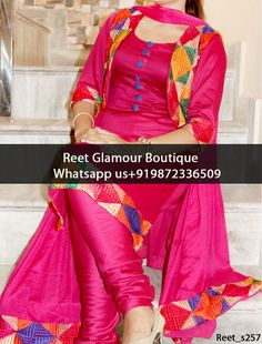 Ravishing Rose Pink Punjabi Suit Product Code : Reet_s257 To Order, Call/Whats app On +919872336509 We Offer Huge Variety Of Punjabi Suits, Anarkali Suits, Lehenga Choli, Bridal Suits,Sari, Gowns Etc .We Can Also Design Any Suit Of Your Own Design And Any Color Combination.