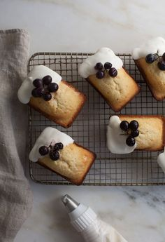 Mini Vanilla Pound Cakes with Labneh Frosting and Roasted Grapes - A Cozy Kitchen Köstliche Desserts, Delicious Desserts, Yummy Food, Plated Desserts, Mini Loaf Cakes, Pound Cakes, Baking Recipes, Cake Recipes, Dessert Recipes