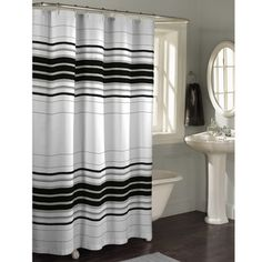 @Overstock - Maytex Horizontal Stripe Fabric Shower Curtain - Thick and thin horizontal printed stripes grace this Racer Stripe shower curtain.  This shower curtain is constructed of microfiber polyester.  http://www.overstock.com/Bedding-Bath/Maytex-Horizontal-Stripe-Fabric-Shower-Curtain/5612090/product.html?CID=214117 $23.99