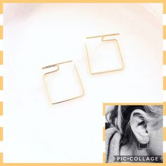 Modern, minimalist geo earrings. Threader style. Simple squares are a delicate ear adornment. https://www.etsy.com/listing/468198296/ultra-modern-minimal-square-gold-plated