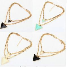 2c2269ecbba1 Gold Triangle Pendants Necklace Statement Necklaces