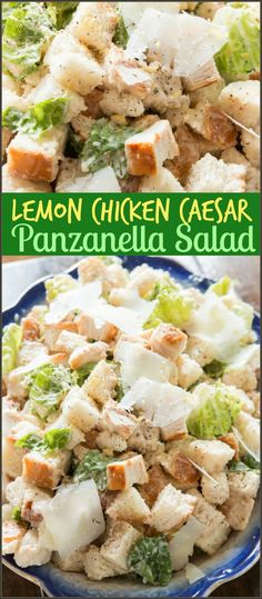 Lemon Chicken Caesar Panzanella Salad via @ohsweetbasil