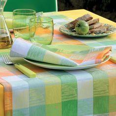 Serviette de table fantaisie Garnier-Thiebaut - Modèle : Mille trames - Serviette de table en coton - Coloris : multicolore