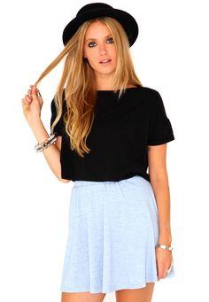 Nitra Melange Skater Skirt In Blue