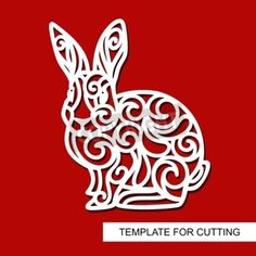 Silhouette of Rabbit - decor for Easter. Template for laser cutting, wood carving, paper cut and printing. Wood Carving, Laser Cutting, Rabbit, Easter, Silhouette, Templates, Illustration, Prints, Decor