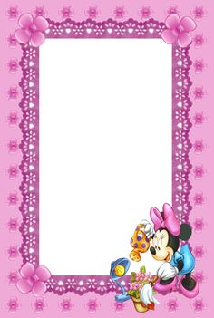 Cute Kids Pink Mini Mouse Transparent Frame.