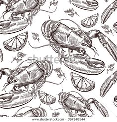 Find Vector Hand Drawn Seafood Seamless Pattern stock images in HD and millions of other royalty-free stock photos, illustrations and vectors in the Shutterstock collection. Thousands of new, high-quality pictures added every day. Lemon Herb, Vector Hand, Food Illustrations, Line Drawing, Food Art, I Tattoo, Hand Drawn, How To Draw Hands, Royalty Free Stock Photos