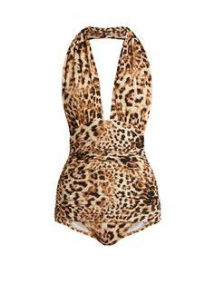 NORMA KAMALI Bill Leopard-Print Halterneck Swimsuit. #normakamali #cloth #swimsuit