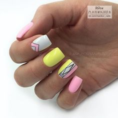 Ideas For Nails Yellow Neon Glitter Mauve Nails, Neon Nails, Pink Nails, Glitter Nails, Yellow Nails Design, Yellow Nail Art, Pink Yellow, Hair And Nails, My Nails