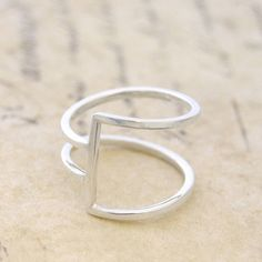 Geometric Silver Square Wire Ring by OtisJaxon on Etsy