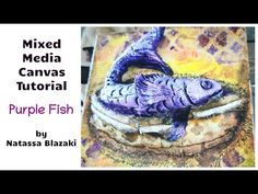 Mixed Media Canvas Purple Fish Mixed Media Canvas, Fish, Crafty, Purple, Videos, Fictional Characters, Art, Art Background, Pisces