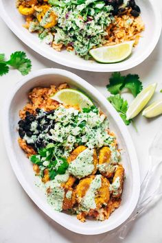 Spicy Brazilian Burrito Bowls - a recipe featuring seasoned rice and beans, garlic cilantro lime slaw, and crispy fried plantains