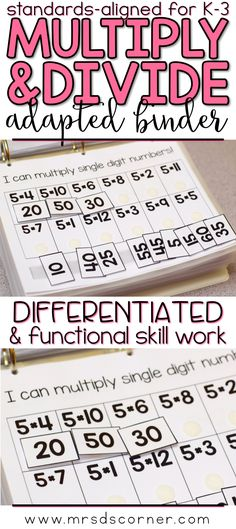 MULTIPLICATION AND DIVISION * Functional and differentiated skill work that covers multiplying and dividing mathematics standards-aligned topics for grades K-3, this Multiplication and Division adapted work binder is the perfect addition to any elementary special education classroom. Includes Basic Multiplication and Basic Division, Repeated addition, Equal-sized groups, Arrays, Skip counting. Adapted Work Binders only at Mrs. D's Corner.