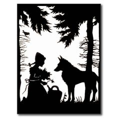 Black Silhouette Red Riding Hood Wolf Woods Post Cards