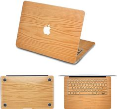 wood macbook decal with keyboard decals-- cool!
