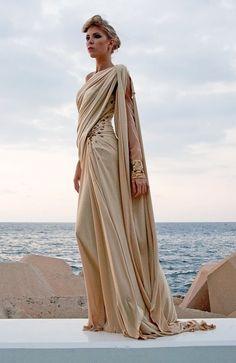 Grecian-style witch's robes (Edward Arsouni) Greek Fashion, High Fashion, Womens Fashion, Greek Inspired Fashion, Muslim Fashion, Spring Fashion, Pretty Dresses, Beautiful Dresses, Neue Outfits