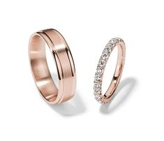 French Pavé Eternity and Brushed Inlay Set in Rose Gold Wedding Ring Set Pretty Wedding Rings, Wedding Rings Sets His And Hers, Wedding Rings Sets Gold, Matching Wedding Rings, Wedding Rings Vintage, Wedding Ring Bands, Matching Rings, Wedding Bands Couples, Unique Wedding Bands For Him
