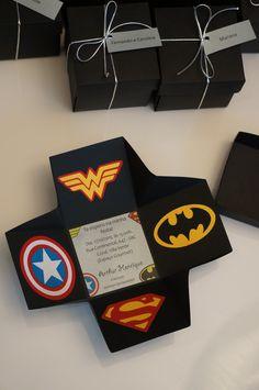 Convite Super Heróis Caixa 3D | Animo Mimo | Elo7