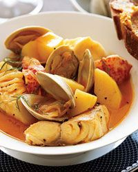 Bouillabaisse, the French fish stew flavored with fennel and saffron, served with rouille, a spicy aioli. Photo by Kana Okada, Recipe by Ethan Stowell