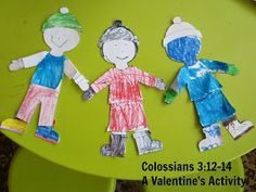 Play Eat Grow: Grow: Put on Love {A Valentine's Lesson} Children's Church Crafts, Mothering Sunday, Bible Games, Colossians 3, Valentines Day Activities, Sunday School Crafts, Kids Church, Clothes Crafts, Bible Lessons