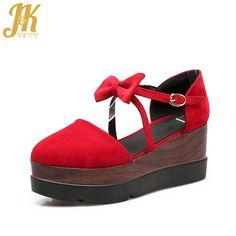 J&K 2017 34-39 Women Sandals Cross Bandage Wedges Summer Shoes Woman Ankle Strap Sandals Fashion Buttery Knot Platform Shoes