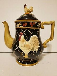 Ceramic Rooster Teapot Tea Pot with Rooster Lid Black, Gold & Burgundy Colors - Country Kitchen Teapot - Bird Teapot Ceramic Rooster, Ceramic Teapots, Porcelain Ceramics, Porcelain Jewelry, Rooster Kitchen Decor, Rooster Decor, Cute Teapot, Teapots And Cups, Teacups
