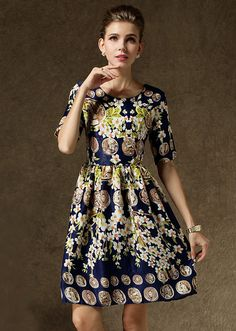Navy Short Sleeve Floral Coins Print Dress 22.67