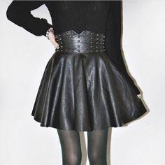 Homecoming Dress Women Dress Autumn Winter Women's Fashion Punk High Waist Rivet Synthetic Leather Skirt Dress | cndirect.com
