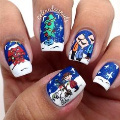 Charlie Brown Christmas Nail Art by Celinedoesnails Holiday Nail Art, Christmas Nail Designs, Christmas Nail Art, Fancy Nails, Trendy Nails, Love Nails, Style Nails, Crazy Nail Designs, Nail Art Designs