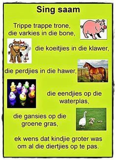 Trippe trappe trone, die varkies in die bone School Songs, School Themes, Maria Montessori, Preschool Learning, Teaching, Kids Poems, Children Songs, Afrikaanse Quotes, Rhymes Songs