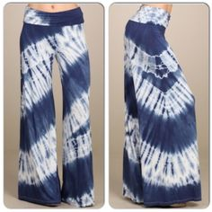NWT Navy Tie Dye Wide Leg Pants NWT Navy Tie Dye Wide Leg Pants. These pants are the best of both worlds -- style and comfort! Very stretchy and soft. Fold over waistband, wide leg. Made in the USA! Material is Viscose/Spandex blend. Comes in XS or S (see size chart above) Each item is hand dyed and will have slightly unique dye patternsNo Trades and No PaypalSold out of medium, large Pants Wide Leg