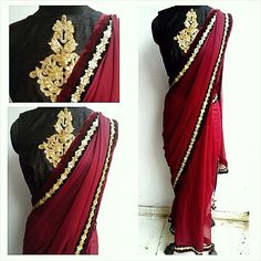 Gota motif blouse on black raw silk and a burgundy chiffon saree. Waidurya cocktail sari